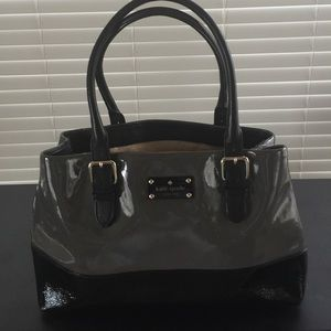 Kate Spade Black and Gray Patient Leather Satchel